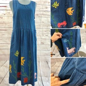Eddie Bauer overall fish Vtg embroidered dress S/P